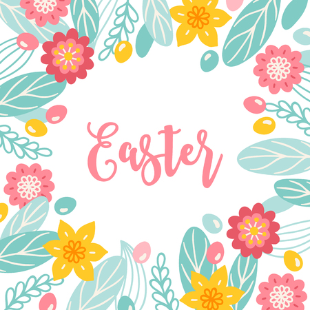 Easter greeting card with flowers, eggs, leaves and narcissus. Floral frame. Perfect for holiday invitation Illustration