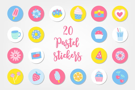 Set of twenty summer stickers with ice cream, succulent, donut, cupcake, camera, heart, cup, drink, flower, cartridge, watermelon, lollipop, lemon, strawberry and cherry.