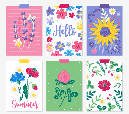 Six summer cards with lavender, viola, sunflower, leaves, branches, poppies, cornflowers, chamomile, clover, bellflower. Perfect for holiday greetings, invitations, prints, placards