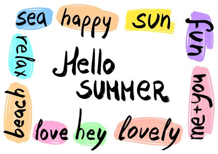 Hello summer hand written words on the hand drawn background