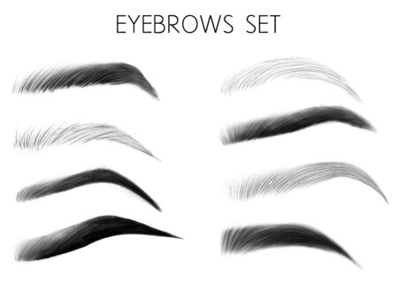 Vector eyebrows black and white set