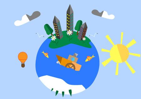 planeta verde: planeta verde con un barco Vectores