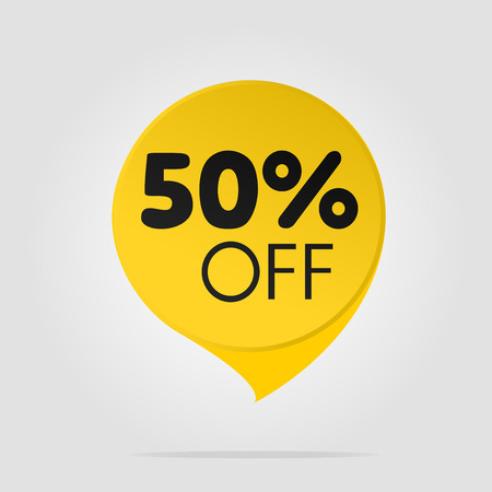Special offer sale yellow tag isolated vector illustration. Discount offer price label, symbol for advertising campaign in retail, sale promo marketing, fifty percent off discount sticker, ad offer on shopping day