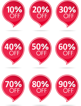 Special offer sale red tag isolated vector illustration. Discount offer price label, symbol for advertising campaign in retail, sale promo marketing, 50 percent off discount sticker, ad offer on shopping day. Sale icons. Sale tags. 10 percent off discount sticker, 20 percent off discount sticker, 30 percent off discount sticker, 40 percent off discount sticker, 60 percent off discount sticker, 70 percent off discount sticker, 80 percent off discount sticker, 90 percent off discount sticker