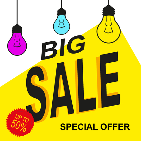Special offer sale tag yellow design with lamps