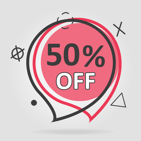 Special offer sale geometric tag red background