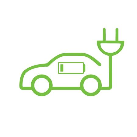 Autovektorikone in der dünnen Linie Art, Hybridfahrzeugikone. Eco freundliches Selbst- oder Elektrofahrzeugkonzept auf weißem Hintergrund.