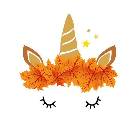 Hi autumn, autumn unicorn on a white background