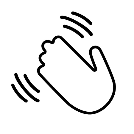 Hand waving hi or hello gesture line art vector icon for apps and websites