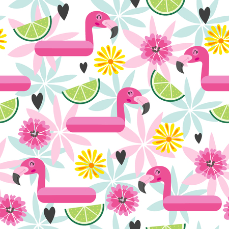 Beautiful seamless vector floral exotic pattern with tropical flowers, pink flamingos. Hawaiian background
