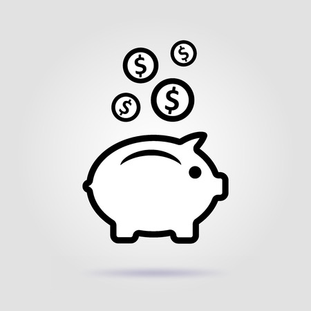 Earnings .Vector icon. Pig on a gray background with soft shadow