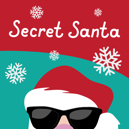 Cartoon Secret Santa Christmas party background template