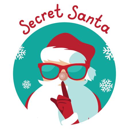 Cartoon Secret Santa Christmas illustration shushing you with his finger
