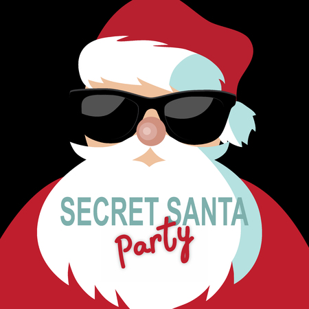 Cartoon Secret Santa invitation template with Santa Claus on a black background