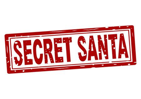 Stamp with text secret Santa inside, vector illustration