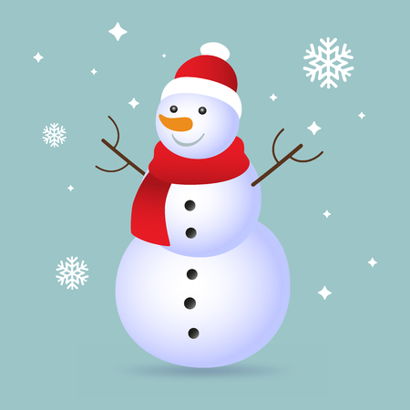 Christmas snowman isolated on blue background with shadow