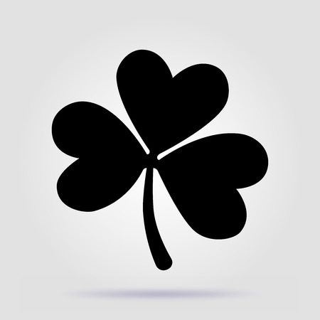 Shamrock black vector icon on gray background