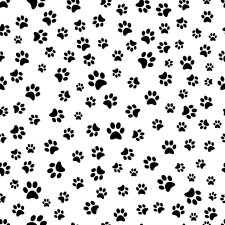 Paw print seamless. Traces of Cat Textile Pattern. Cat footprint seamless pattern.