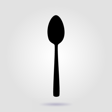 Spoon icon. Vector flat sign on gray background with soft shadow 写真素材 - 110018939