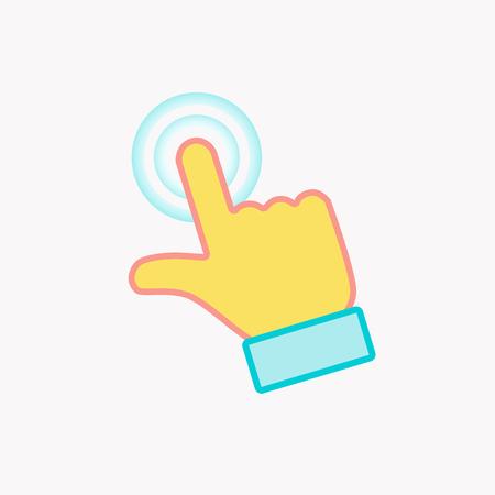 Finger click color icon. Modern flat illustration