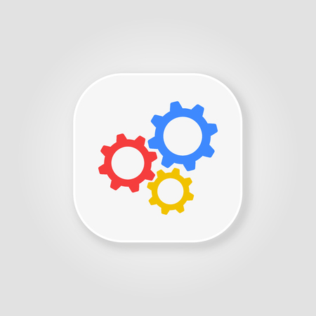 Gear flat icon on a gray background