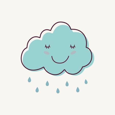 Cute blue rainy cloud cartoon with rain drops on gray background