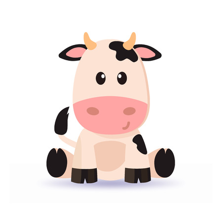 Cartoon cute cow vector with soft shadow 向量圖像