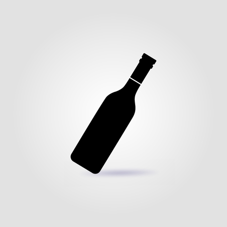 Bottle of wine black vector  with soft shadow Illustration