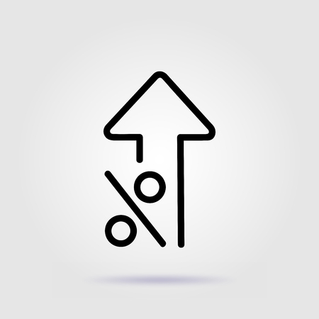 Percent up line icon rate increase with soft shadow Illustration