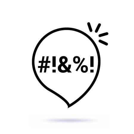 Icono de burbuja de juramento de línea fina negra. Diseño gráfico de arte aislado en blanco. Ilustración de vector