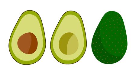 Cartoon avocado icon set original flat design. Vector illustration Illustration