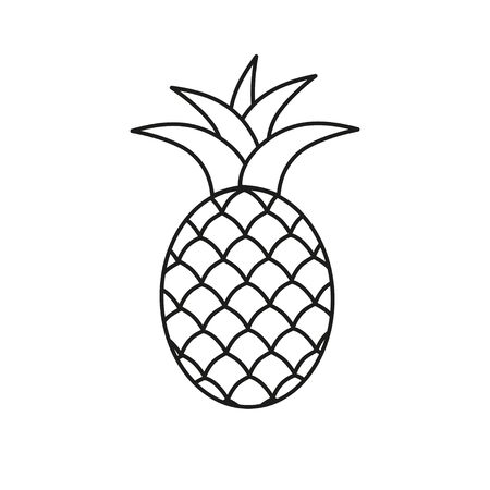 Pineapple symbol icon. Tropical exotic fruit simple line vector icon