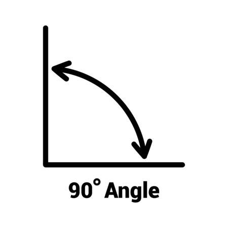 Icona dell'angolo di 90 gradi, icona isolata con simbolo dell'angolo e testo, illustrazione vettoriale.