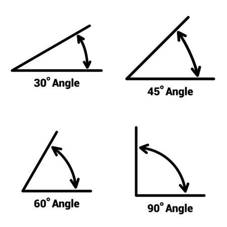 Icone di angoli impostate su sfondo bianco. Illustrazione vettoriale Vettoriali
