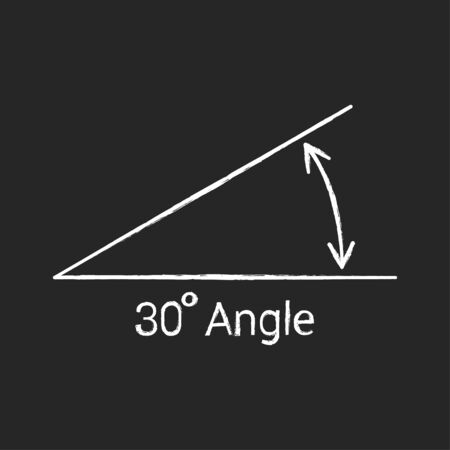 30 degree angle chalk icon, isolated icon with angle symbol and text
