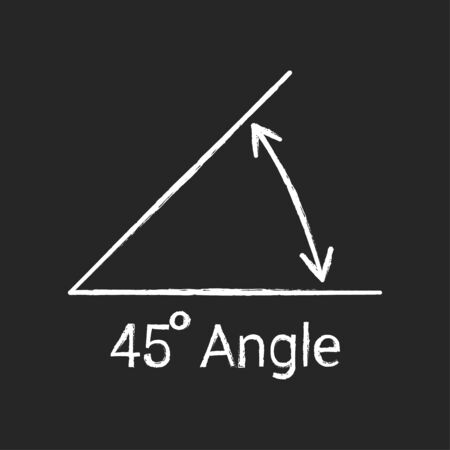 45 degree angle chalk icon, isolated icon with angle symbol and text