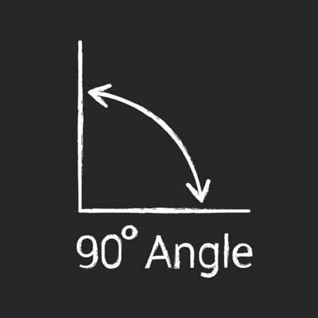 90 degree angle chalk icon, isolated icon with angle symbol and text