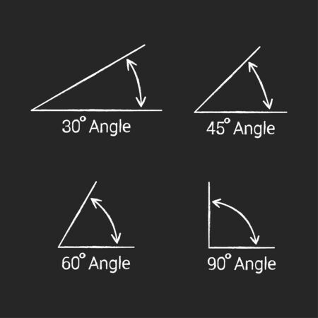 Angles icons chalk set on white background. Vector Çizim