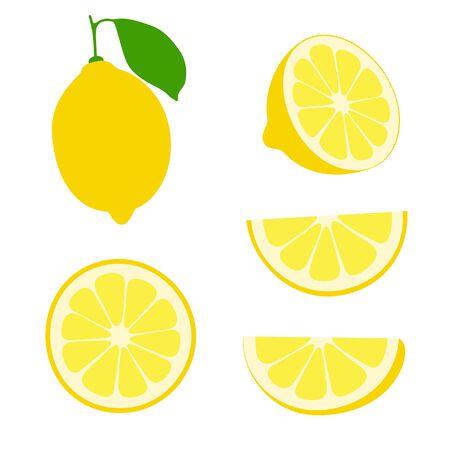 Fresh lemon fruits slises on a white background