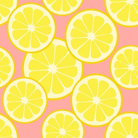 Seamless pattern lemon slices on pink background