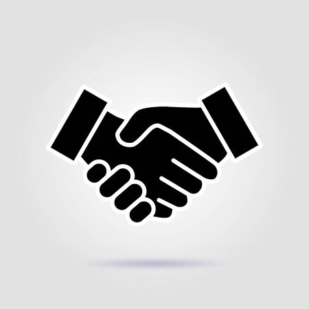 Black and white icon handshake. Gray background for business and finance with a soft shadow