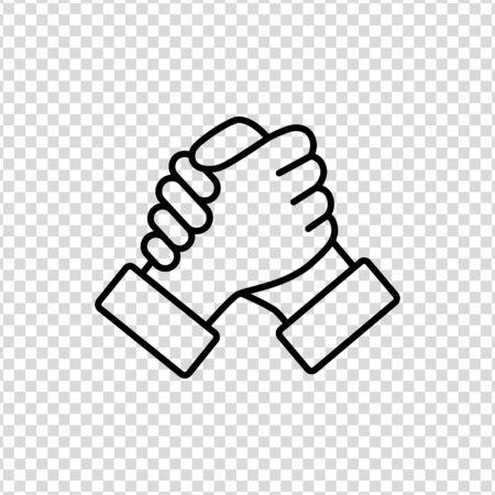 Soul brother handshake thumb clasp homie line icon on a transparent background Illusztráció