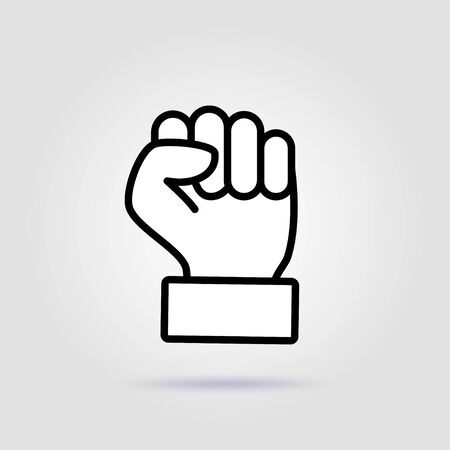 Clenched fist vector icon illustration isolated on white background. Fist vector icon. Fist vector eps sign.