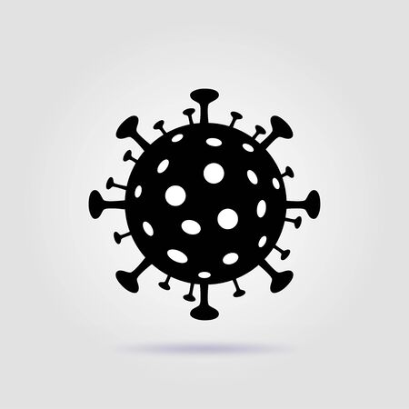 Coronavirus icon black on a gray background with soft shadow