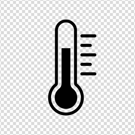 Thermometer black icon vector illustration on a transparent background
