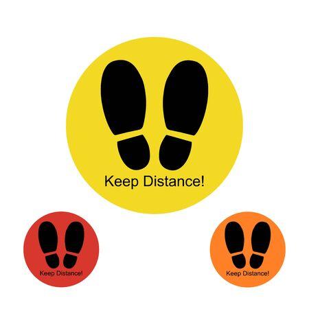 Keep distance color sign set icons footprint Illustration