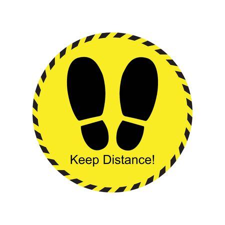Keep distance footprint sign yellow icon design Illustration
