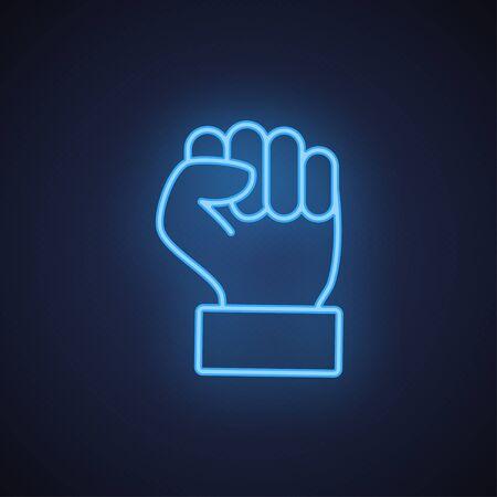 Raised fist hand gesture neon blue line icon
