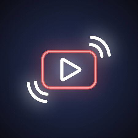 Video streaming neon sign for decoration and glowing on a dark background
