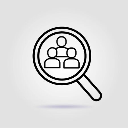 Search, research of employees line icon on gray background